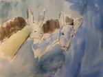 Les petits ânes, aquarelle de Clément 6 ans