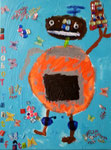 Le robot de Clément, 6 ans ( acrylique sur toile)