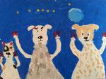 La famille chiens de Salma, 5 ans (acrylique sur toile)