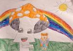 Dessin aux crayons de couleurs, Pauline, 7 ans