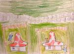 Dessin aux crayons de couleurs, Benjamin, 7,5 ans