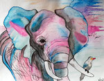 Dessin aux crayons aquarellables de Salomé, 12,5 ans