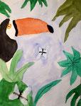 Toucan de Coline, 8 ans, aquarelle