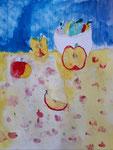 Les pommes, aquarelle de Nina, 6 ans