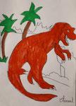 Dinosaure, crayon et feutre de Clément, 8 ans