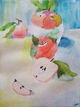 Pommes de Salomé, 10 ans (aquarelle)