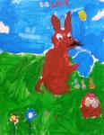 Le lapin de Pâques de Salma, 5 ans (gouache sur papier)