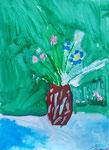 Bouquet à la gouache, Clément, 6 ans et- demi