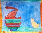 """""""Pâques"""", aquarelle de Aaron, 8 ans"""