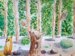"""""""Les animaux de la forêt"""", aquarelle de Salomé, 10 ans"""