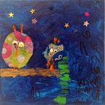 Les hiboux de Nawfel, 4 ans (acrylique sur toile)
