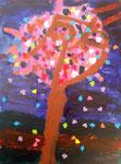 """""""L'arbre en feu"""", Jean-BaptisteB., 7 ans et demi (acrylique sur toile)"""