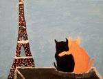 """""""Deux amies à Paris"""", Asset 11 ans (acrylique sur toile)"""