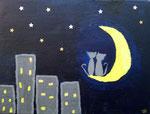 """""""Les chats dans les étoiles"""", Elise 10 ans et demi (acrylique sur toile)"""