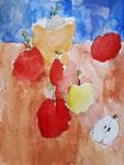 Les pommes, aquarelle de Nawfel, 7 ans