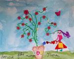 """""""Fête des mères"""", aquarelle et collages de Manon, 6 ans"""