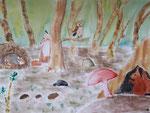 """""""les animaux de la forêt"""", Emilie, 12 ans (aquarelle)"""