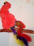 Le perroquet de Jules, 4 ans (aquarelle et collage de plumes)