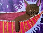 """""""Au lit mon petit chat"""", Vanina 11 ans (acrylique sur toile)"""