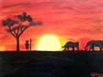 Coucher de soleil de Lilimay, 10 ans (acrylique sur toile)