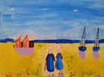 Les bretonnes d'Antoine, 8 ans (acrylique sur toile)