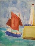 Paysage breton, Caroline, 7 ans et  demi (aquarelle sur papier)