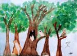 """""""Les animaux de la forêt"""", Flora, 9 ans et demi (aquarelle)"""