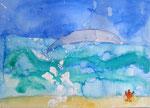Maman, bébé dauphins et crabe de Mélodie, 4 ans et demi (aquarelle sur papier)