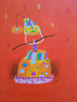 """""""Surprise"""", Clémence 13 ans (acrylique sur toile)"""