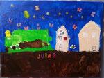 Paysage urbain, Jules, 4 ans et demi (acrylique sur toile)
