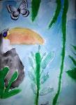 Toucan de Nawfel, 6,5 ans, aquarelle