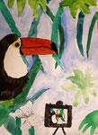 Toucan de Antoine, 10,5 ans, aquarelle