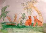 Dessin aux crayons aquarellables de Benjamin, 7,5 ans