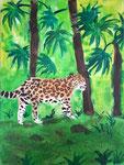 Léopard de Claria, 13 ans  (acrylique sur toile)