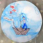 aquarelle sur papier, cadeau de la fête des pères d'Eloïse, 10 ans