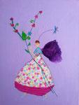 """""""Les fleurs de la libellule"""", Agathe 8 ans (acrylique sur toile)"""