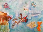 Fonds sous marins de Lilimay, 10 ans, aquarelle
