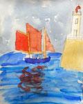 Paysage breton, Nicolas, 8 ans (aquarelle sur papier)