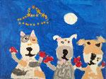 La famille chien de Clément, 6 ans (acrylique sur toile)