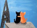 """""""Les amoureux de Paris"""", Lucie, 7 ans et demi (acrylique sur toile)"""