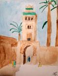 La Koutoubia, (Marrakech), aquarelle de Coline, 8 ans