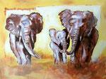 Famille d'éléphants d'Emma, 15 ans (acrylique sur toile)