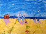 Les bretonnes de Nicolas, 8 ans (acrylique sur toile)