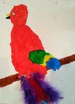 Le perroquet de Mélodie, 4 ans et demi (aquarelle et collages de plumes)