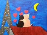 """""""Un amour de chats partagé"""", Mailys 8 ans et demi (acrylique sur toile)"""