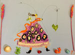 """""""La fille dans le pré"""", Manon 7 ans et demi (acrylique sur toile)"""
