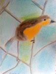 Le rouge-gorge, Nassim 9 ans (pastel)