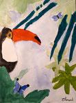 Toucan de Clément 8 ans, aquarelle