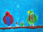 Famille perroquet de Roxane 7 ans  (acrylique sur toile)