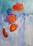 Les pommes, aquarelle de Olivia, 7 ans